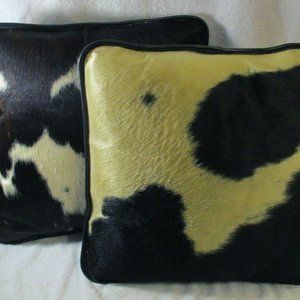 Set of 2 Cowhide and Leather Throw Pillows 15x15